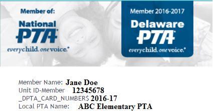 Membership card delaware pta for Pta membership card template